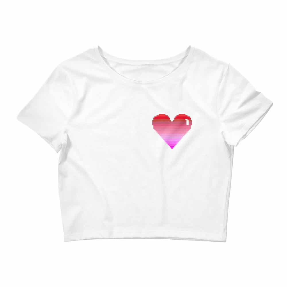 Pixelated Heart Crop Tee
