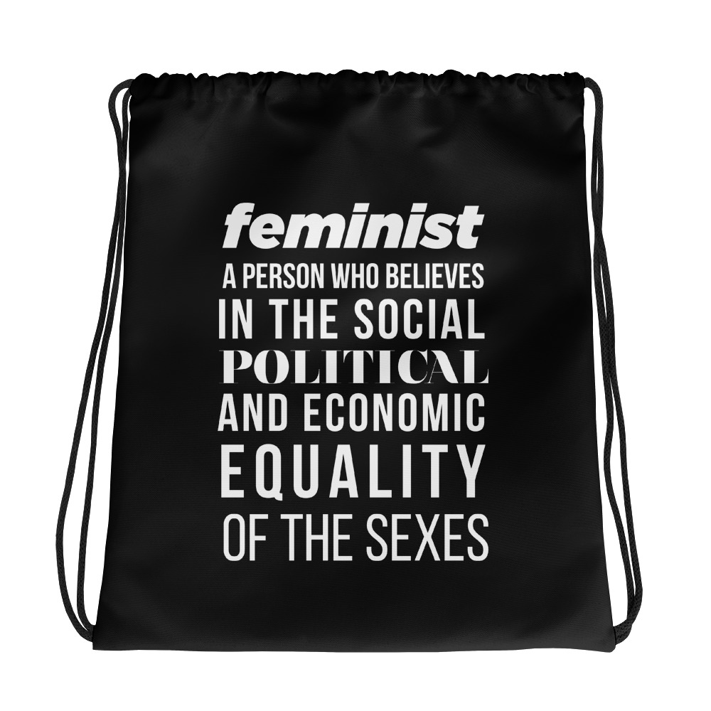 She is apparel Feminist Quote drawstring bag