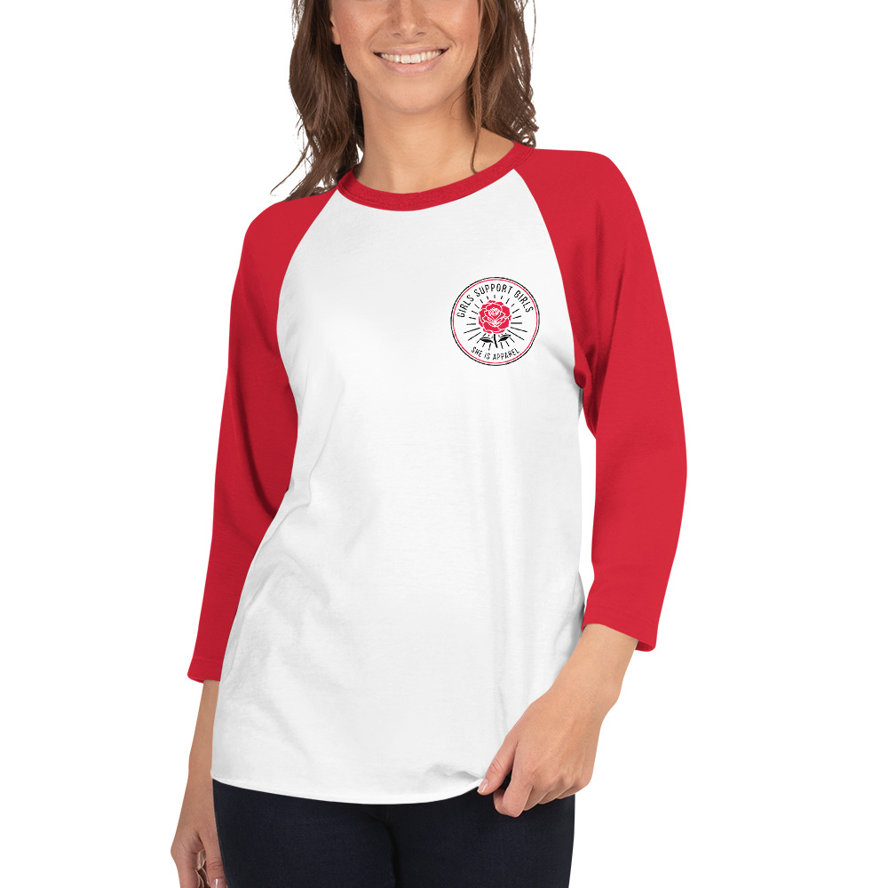 She is Apparel Rose Badge 3/4 sleeve raglan shirt