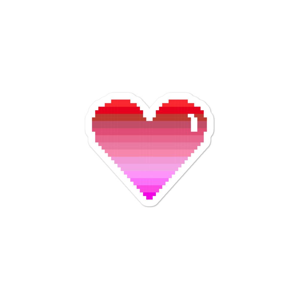 She is Apparel Pixelated Heart Sticker