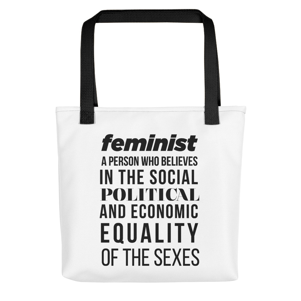 She is apparel Feminist Quote tote bag