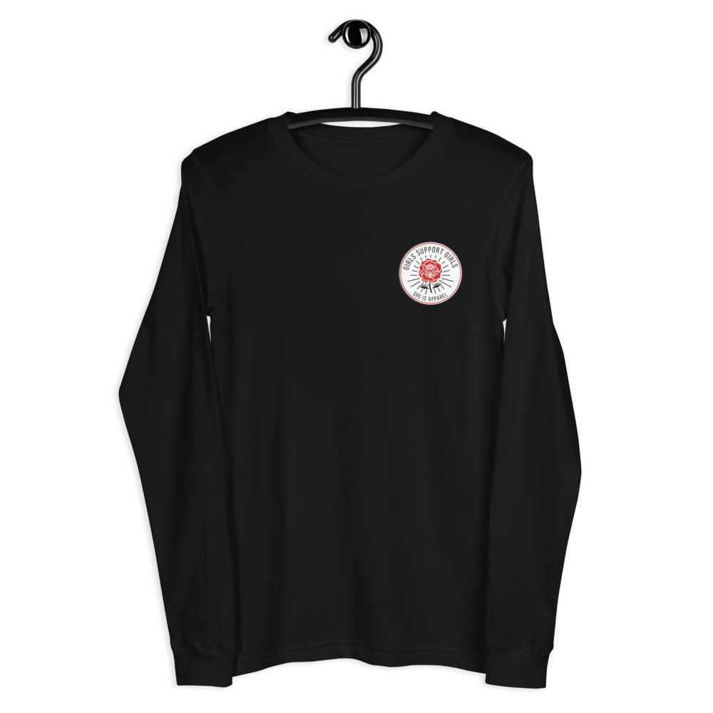 She is Apparel Rose Badge Long Sleeve Tee