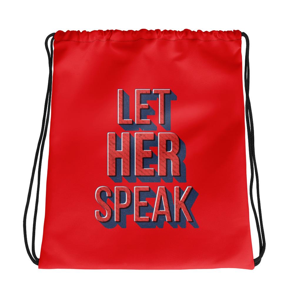 She is apparel Let Her Speak drawstring bag