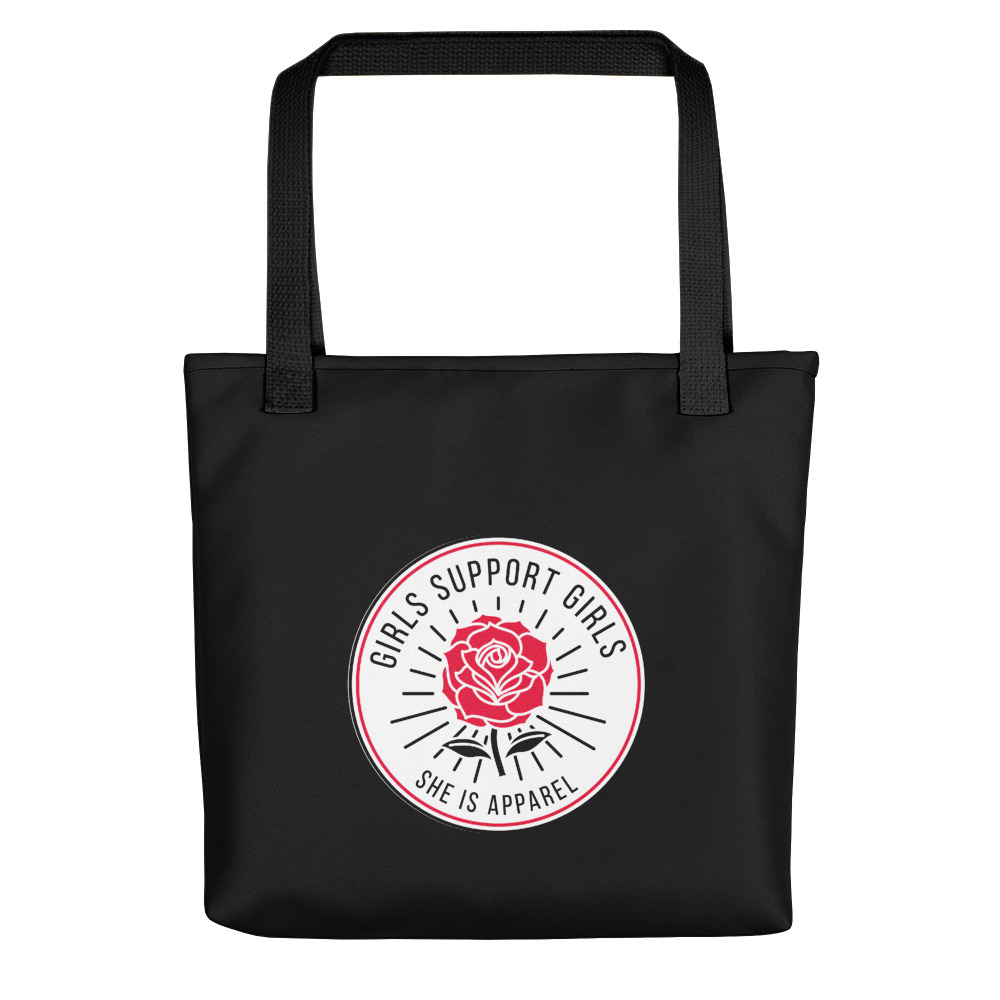 She is Apparel Rose Badge Tote Bag